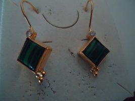 Damenohrringe silber vergoldet Smaragd Zirkone