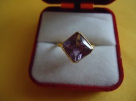 Silver Ring gold-colored-grey lilac