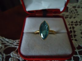 Silver Ring gold-colored-neon blue