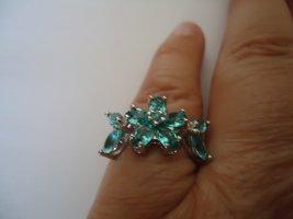 Damenring silber Aquamarine