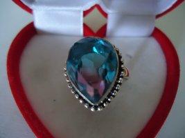 Anello d'argento blu neon