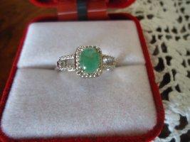 Damenring silber natürlicher Smaragd
