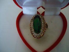 Zdobiony pierścionek leśna zieleń