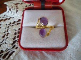 Bague en argent doré-gris lilas