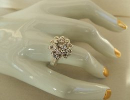 Damenring Sunflower Sterling Silver Plated -  Zircon Crystal  - Gr.8 (17,8)