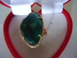 Damenring vergoldet gefärbter Smaragd