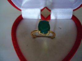 Damenring vergoldet grüner Onyx