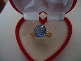 Damenring vergoldet Londonblautopas
