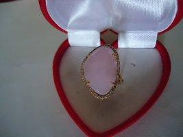 Damenring  vergoldet rosa chalcedon