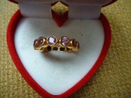 Damenring vergoldet  rosa Turmalin