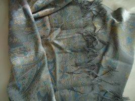 Écharpe en cachemire bleu fluo-gris clair