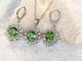 Cadena de plata color plata-verde claro