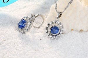 Zilveren ketting zilver-blauw