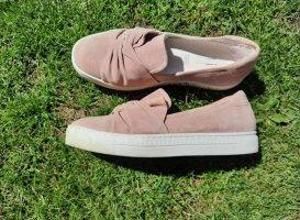 Buty wciągane różany-biały Skóra