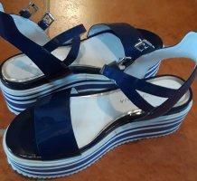 Sandały na grubym obcasie niebieski
