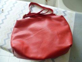 Damentasche schlichte, elegante Handtasche Leder rot