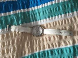 Guess Horloge met lederen riempje zilver-wolwit