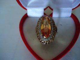 Zdobiony pierścionek jasny pomarańczowy