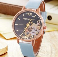 Watch With Leather Strap azure