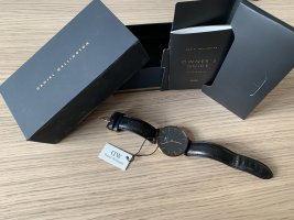 Daniel Wellington Watch With Leather Strap black-rose-gold-coloured leather
