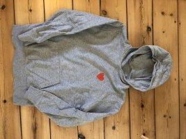 Sweter z kapturem srebrny-czerwony