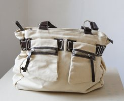 David Jones Handbag natural white-dark brown cotton