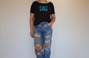 DC Shoes T-Shirt black-light blue viscose