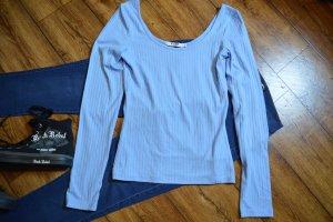 Deep Round Neck Rib Shirt Nakd blau Gr. 38