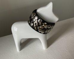 dekoratives Armband Leder schwarz mit Nieten Silber unisex sehr guter Zustand