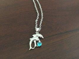 Silver Chain silver-colored-neon blue