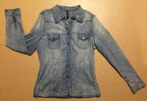 denim-bleue Bluse mit Kragen und Knöpfen, langärmlig, Gr. 44