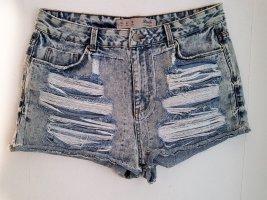 Denim & Co Hot Pants Jeans Shorts 40  High Waist Risse Löcher