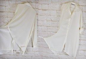 Designer Asymetrisch Longbluse Ashley Brooke Größe XXL 50 Weiß Cremeweiß Offwhite lange Bluse Hemd Oversize