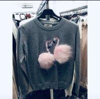 Designer Flamingo Pullover Grau Rosa