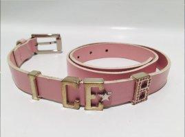 "Designer Gürtel ICEBERG ""Ice B"" Gr.38 - rosa Leder mit Logo und Strass"