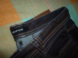 Designer Jeans: -TAIFUN- schwarz/ dunkelbraun, leicht glänzend