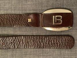 Designer Ledergürtel italienischer Gürtel Leder Echtleder Braun Gold