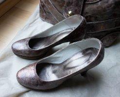 Designer Pumps Schuhe Gr. 37 Braun Bronze Echtleder Leder NEUWERTIG