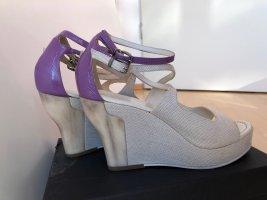 Jil Sander Compensé bleu violet-blanc cassé coton