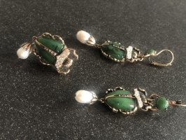Designer Schmuck Set Brosche echte Perlen smaragd grün Scarabäus bronze