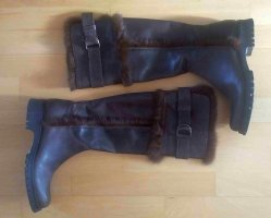 Fur Boots dark brown-black brown leather
