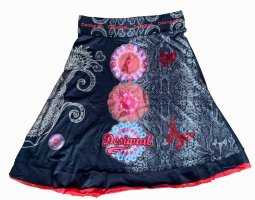 Desigual Flared Skirt black cotton