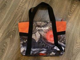 Desigual Tasche sporttasche handtasche neon grau Muster neu