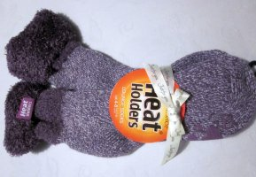 Dicke Thermo Socken Stoppersocken violett purpur Beere weiß Heat Holders EUR 37 - 42, Gr. 37 38 39 40 41 42 lila meliert Socks mit Umschlag Thermosocken extra lang modern Styl NEU OVP