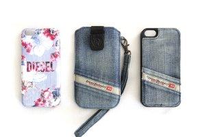 DIESEL Apple iPhone 5/ 5S/ SE Schutz Hülle Case Tasche Jeans Floral – 3er Set