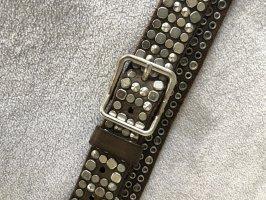 Diesel Black Gold Leather Belt multicolored