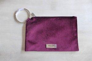 Diesel Clutch Tasche Samt burgundrot violett silber neu