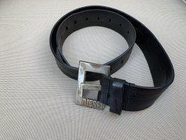 Diesel Cinturón de cuero negro-color plata