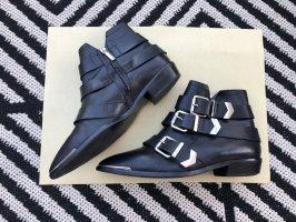 Diesel Leder Boots Stiefelette spitz silberne Schnallen