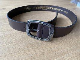 Diesel Hebilla del cinturón marrón oscuro Cuero